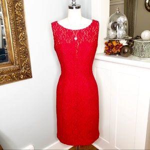 Anne Klein Red Lace Stretch Sheath Cocktail Dress
